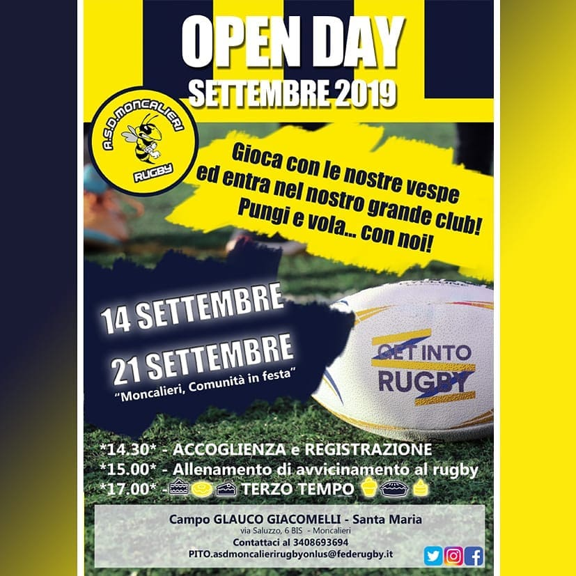 OPEN DAY SETTEMBRE 2019 - A.S.D. MONCALIERI RUGBY