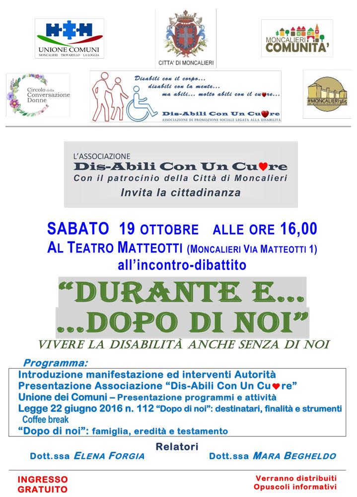 DURANTE E DOPO DI NOI - INCONTRO DIBATTITO